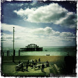 Brighton - Mobile. The beach in Brighton and its pier shot with a mobile phone Stock Images