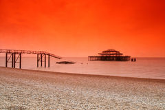 Brighton old west pier. This is the remains of the Brighton west pier after the fire living little but the metal shell royalty free stock photo