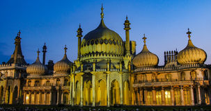 Brighton pavilion floodlit. At night stock photography