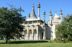Brighton Pavilion with lawn in front Royalty Free Stock Image
