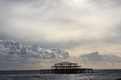 Brighton pier 2. Flocks of starlings over the West Pier, Brighton Stock Images