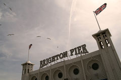 Brighton pier. The Brighton pier entrance on a nice hot sunny May day Royalty Free Stock Photos