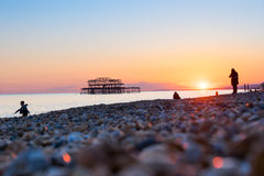 Brighton pier and beach, England Stock Images