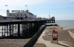 Brighton Pier, Brighton, England, UK. BRIGHTON, UK - MARCH 27: a vertical panoramic view of the iconic and historic Brighton Pier on a beautiful spring day Royalty Free Stock Photography