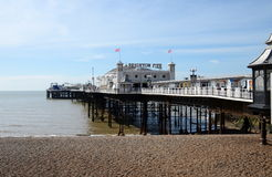 Brighton Pier, Brighton, England, UK. BRIGHTON, UK - MARCH 27: a vertical panoramic view of the iconic and historic Brighton Pier on a beautiful spring day Stock Images