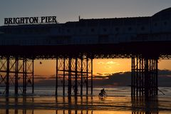 Brighton pier carrusel stock image