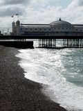 Brighton: pier on cold summer day royalty free stock image