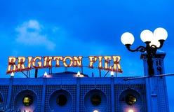 Brighton Pier Neon Sign Arkivfoto