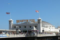 Brighton Pier Palace Pier sign Brighton England Royalty Free Stock Images