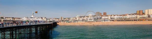 Brighton pier promenade and shingle beach panorama East Sussex S Stock Photos