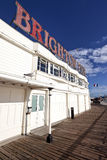 Brighton Pier sign with resident seagulls Royalty Free Stock Photo