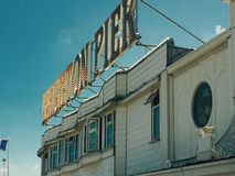 Brighton Pier Sign. On a sunny day stock image