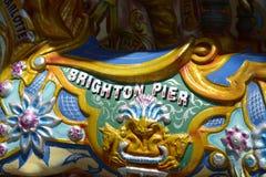 Brighton Pier-teken op kermisterreinrotonde engeland Stock Foto's