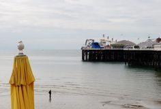 Brighton Pier, view from the beach. Tourist and seagull 2. British summertime 2015.  Brighton beach and Pier is a holiday destination for thousands of tourists Royalty Free Stock Images