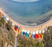 Brighton plaży Plażowi pudełka, powietrzny panoramiczny widok w zimie obrazy royalty free