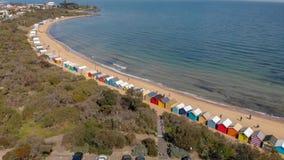 Brighton plaży Plażowi pudełka, powietrzny panoramiczny widok w zimie obraz stock