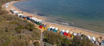 Brighton plaży Plażowi pudełka, powietrzny panoramiczny widok w zimie zdjęcie royalty free