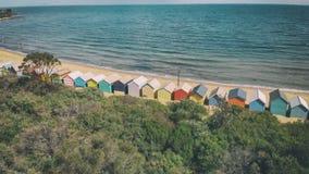 Brighton plaży Plażowi pudełka, powietrzny panoramiczny widok w zimie fotografia royalty free