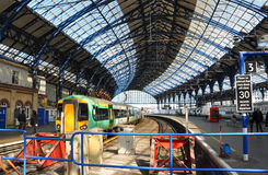 Brighton Railway station and train in Sunshine Royalty Free Stock Photography
