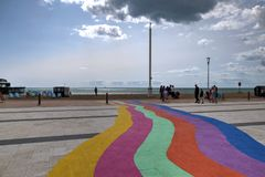 Brighton Seafront, United Kingdom, showing rainbow colors painted onto the pavement stock photo