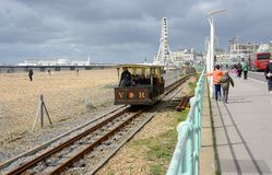 Brighton seafront with Volks railway. England Royalty Free Stock Images