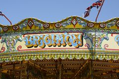 Brighton sign on fairground roundabout. England Stock Photos