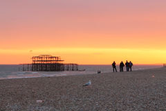 Brighton sunset. Brighton sunny august day, walking on the seaside, sunset Stock Images