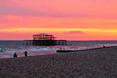 Brighton sunset. Brighton sunny august day, walking on the seaside, sunset Stock Photo