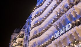 Brighton Sussex UK. Photograph taken at night of the facade of the newly renovated historic Victorian Grand Hotel. Brighton Sussex UK. Photograph taken at night royalty free stock image