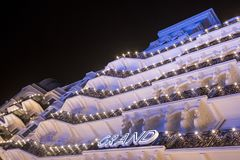 Brighton Sussex UK. Photograph taken at night of the newly renovated historic Victorian Grand Hotel. Brighton Sussex UK. Photograph taken at night of facade of stock photos
