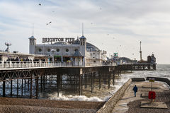 BRIGHTON, SUSSEX/UK - STYCZEŃ 27: Brighton molo w Brighton dalej Obrazy Stock