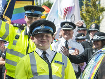 Brighton UK Gay Pride Police join in the gay pride Royalty Free Stock Photography