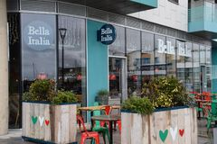 Bella Italia Restaurant. Brighton, United Kingdom - March 28 2018:   Frontage of Bella Italia Restaurant at Brighton Marina Stock Photo