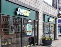 Subway sandwich Bar. Brighton, United Kingdom - March 28 2018:   The frontage to Subway takeaway and Restaurant at Brighton Marina Royalty Free Stock Photography