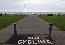 No cycling into the sea royalty free stock photo