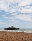 Brighton West Pier. The remains of the Brighton West Pier after an arson attach in 2003 Royalty Free Stock Images