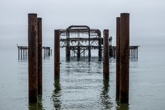 Brighton West Pier. Reflected in the sea Royalty Free Stock Photo