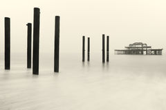 Brighton West Pier in de Winter Stock Foto