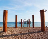 Brighton West Pier and pillars 5 royalty free stock photo