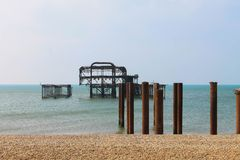 Brighton West Pier Ruins stockbilder