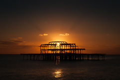 Brighton West Pier Sunset Stock Afbeeldingen