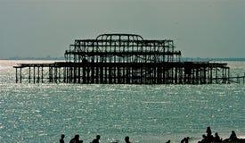 Brighton West Pier, Sussex orientale, Regno Unito al crepuscolo Fotografia Stock Libera da Diritti