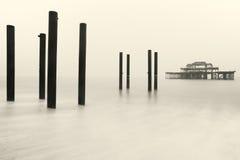 Brighton Zachodni molo w zimie Zdjęcie Stock