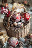 Brights Christmas Toys with gifts. Vintage style. Brights Christmas Toys with gifts. Basket, Red balls, Pine cones, Boxes, Walnuts, Snowflakes, Sweet Candyes on Stock Image