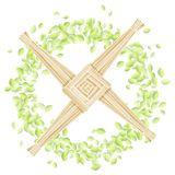 Brigid Cross en una guirnalda de hojas Postal pagana del vector de la plantilla del d?a de fiesta de Imbolc libre illustration