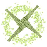 Brigid Cross en una guirnalda de hojas verdes Postal pagana del vector de la plantilla del d?a de fiesta de Imbolc libre illustration
