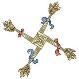 Brigid Cross hizo de la paja Elemento aislado s?mbolo pagano de Wiccan Imbolc ilustración del vector