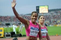 Brigitte Foster-Hylton. THESSALONIKI, GREECE - SEPT 12:Brigitte Foster-Hylton celebrates winning the women's 100m hurdles final at the IAAF 2009 World Athletics Royalty Free Stock Photos