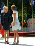 BRIGITTE MACRON AND CARMEN IOHANNIS Royalty Free Stock Photos