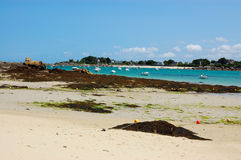 Brignogan bay, bretagne, france. View of a bay at medium tide typical of bretagne area in france picture taken in brignogan-plages, france stock image